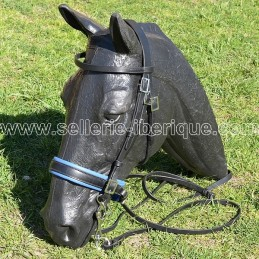 "Snaffle portuguese bridle PEDRO LOPES ""classic recta"" pull-back noseband"