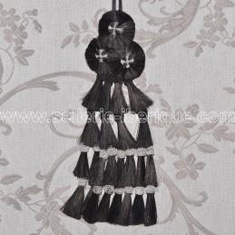 Mosquero crins - noir pompons blancs