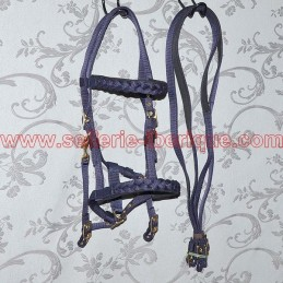 Nylon halter bridle with braided ornament